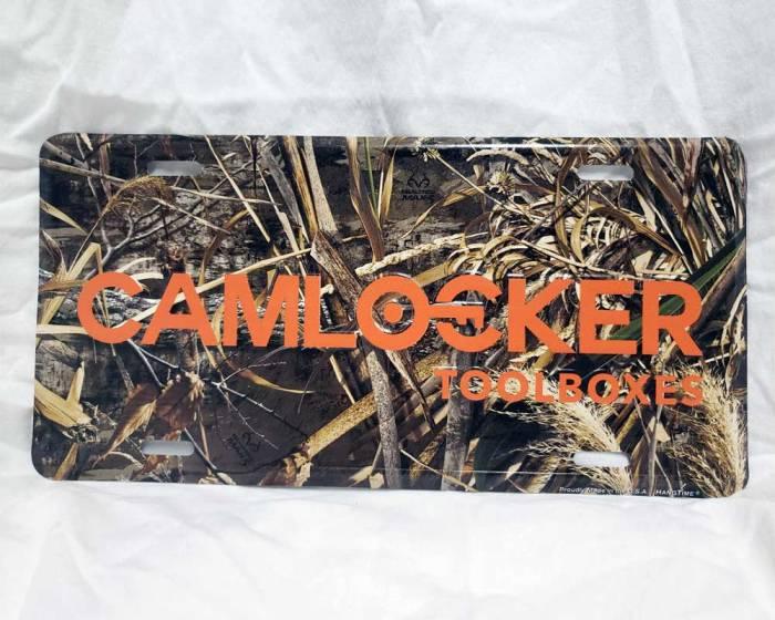 CamLocker Camo Car Tag with Orange Lettering